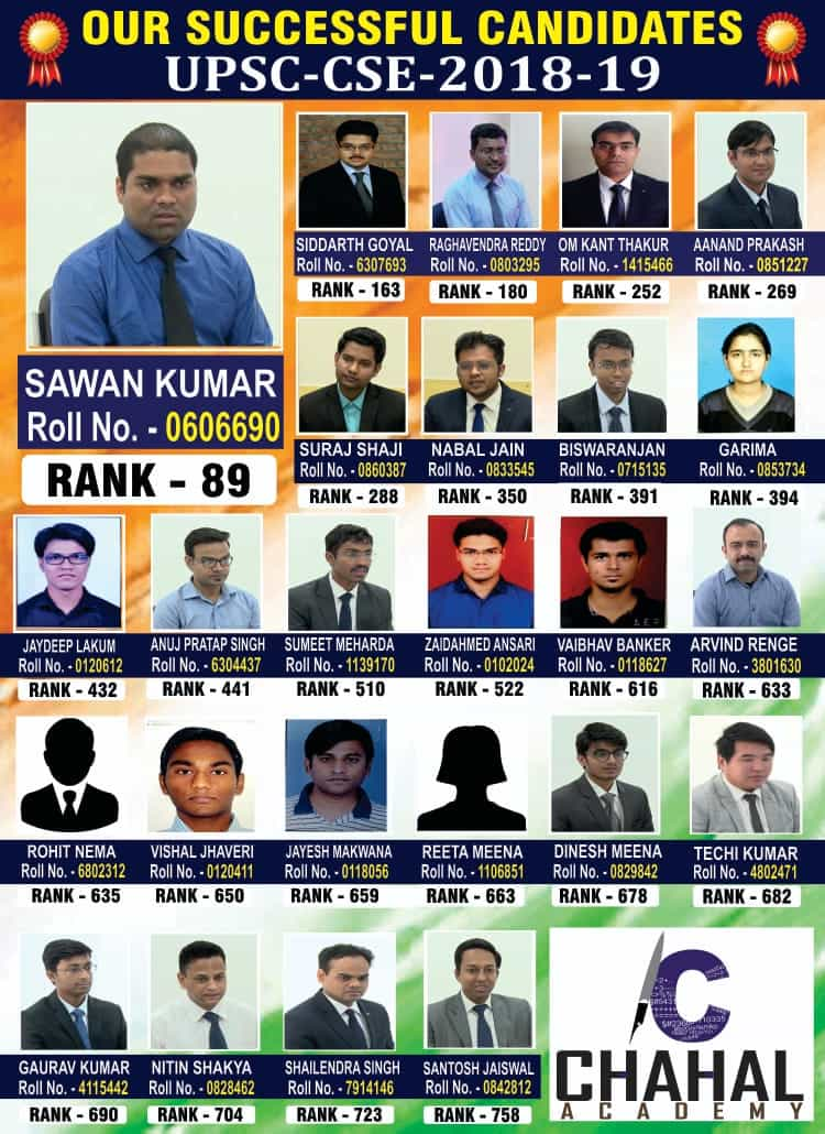 Chahal Academy Toppers List for IAS Coaching Classes in Ranchi